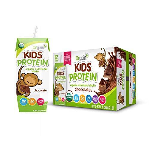 Orgain Kids Protein Organic Nutritional Shake, Chocolate, Gluten Free, Kosher, Non-GMO, 8.25 Ounce, (Pack of 12)...
