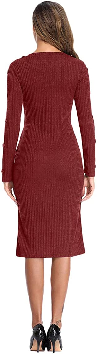 YMING Womens Elegant Bodycon Knit Ribbed Sweater Midi Dress Round Neck Sweater Pullover