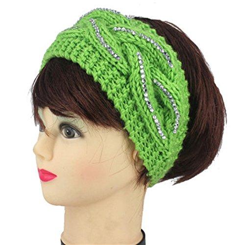 Rhinestone Crochet Knit Head-wrap Winter Headband Ear Warmer Hair Muffs Band-GREEN