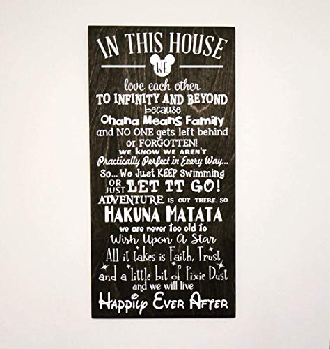 In This House We Do Disney Sign Wood, Disney Sign, Disney Signs For Home, Disney Decor, Disney Birthday Gift, Disney Christmas, Disney Gifts