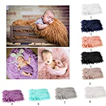 OULII Baby Photo Props Soft Fur Quilt Photographic Mat DIY Newborn Baby Photography Wrap-BAby Photo Props Favors (Khaki)