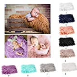 OULII Baby Photo Props Soft Fur Quilt Photographic Mat DIY Newborn Baby Photography Wrap-BAby Photo Props Favors (White)