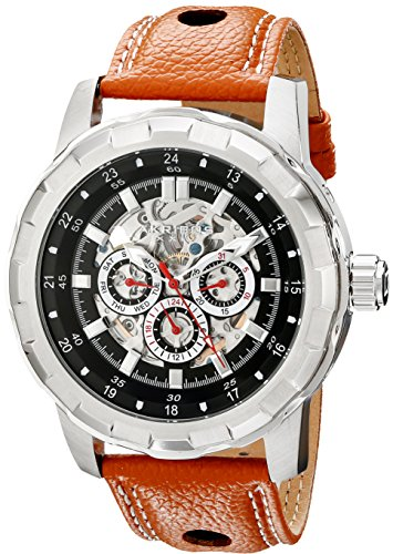 Akribos XXIV Men's AK557BR Premier Automatic Multi-Function Leather Strap Watch