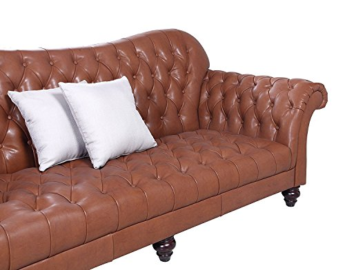 Classic Tufted Real Italian Leather Tufted Victorian Sofa - Real Italian Leather (Light Brown)