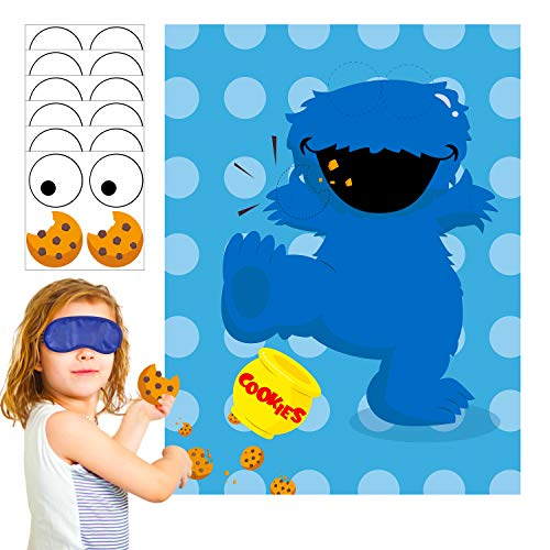 PANTIDE Sesame Party Games for Kids | Pin The Eye and Cookies on The Cookie Monster | Make-a-Face Sticker Game | Sesame Theme Party Decoration Supplies Party Favors | Perfect Party Activities