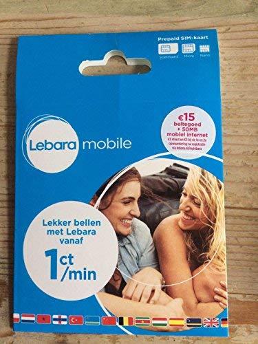 Lebara nl Prepaid 3 en 1 4 G SIM Card with & # x20ac; 15 + 50 MB ...