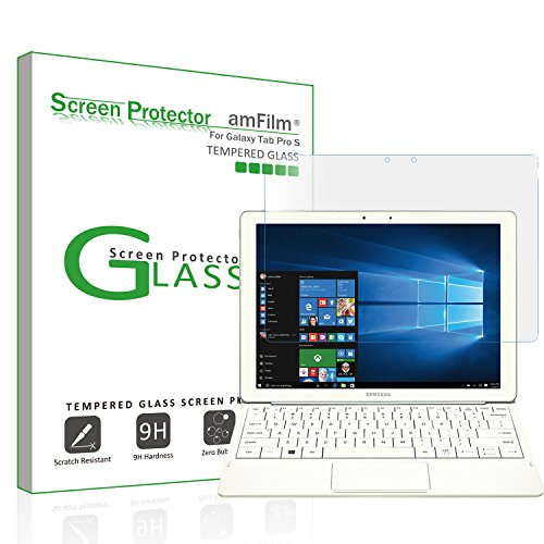 amFilm Galaxy TabPro S 12 Tempered Glass Screen Protector, 0.33mm 2.5D Rounded Edge for Samsung Galaxy TabPro S 12 inch WiFi LTE (2016)(1-Pack)