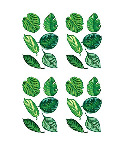 Stickerbrand Set of 24 Tropical Plant Leaves Wall Decal, Hawaiian Party Beach Theme Decor. Great for Birthdays, Prom, Wedding Events #6094s
