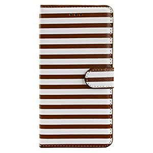 SumacLife Striped Wallet Stand Case for iPhone 6 Plus - Retail Packaging - Brown/White
