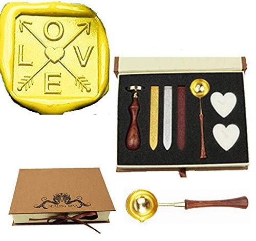 MNYR Love Cross Arrow Heart Sealing Wax Seal Stamp Wood Handle Melting Spoon Wax Stick Candle Gift Book Box kit Wedding Invitation Embellishment Holiday Card Christmas Gift Wrap Package Seal Stamp Set