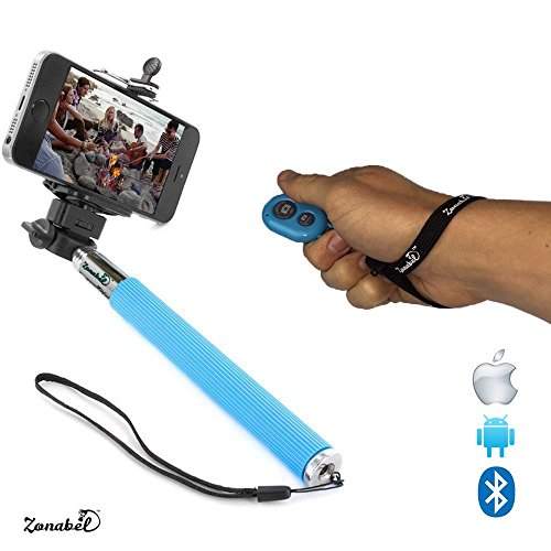 zonabel selfie stick best handheld monopod with bluetooth remote perfect selfies with any. Black Bedroom Furniture Sets. Home Design Ideas