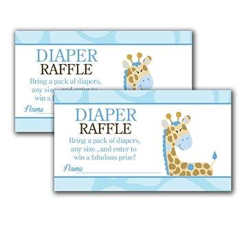 Superior Blue Giraffe Printed Baby Shower Diaper Raffle Tickets (20)