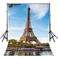 Lyly County 5x7ft Paris Eiffel Tower Photography Backdrops Blue Sky White Clouds Studio Photo Background Props (Upgrade material)LY001