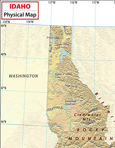 Amazoncom Idaho Physical Map 36 W x 4662 H Office Products