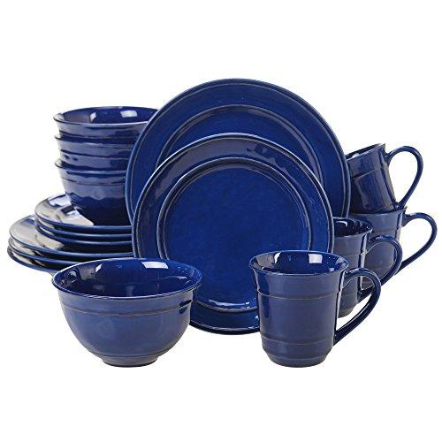 Certified International 40168 Orbit 16 pc. Dinnerware Set, Service for 4, Cobalt Blue Cobalt Blue Dinnerware Collection