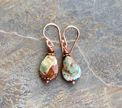 (Jasper Earrings, Brown and Green Earrings, Natural Stone Earrings, Dangly Earrings, Teardrop Earrings, Natural Earrings, Boho Copper Earring )