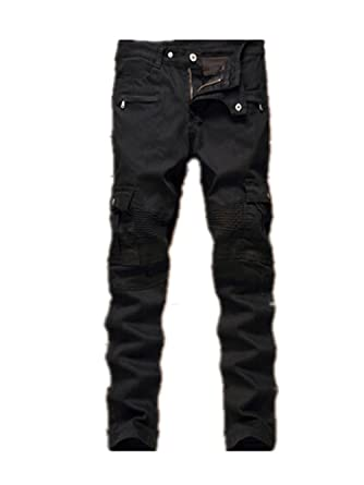 Vionr Mens Biker Slim Fit Casual Denim Pant Skinny Jeans with ...