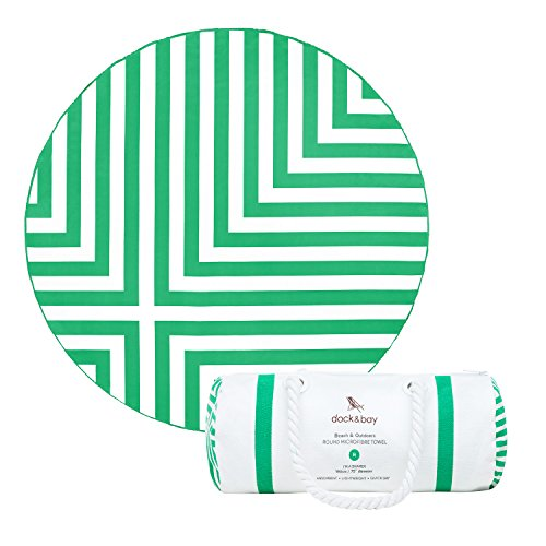 Dock & Bay Round Beach Towel Extra Large - Green, Cross Design - 75x75 - includes carry bag. Circle beach towels, fast drying microfibre, big beach mat