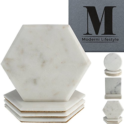 Premium Marble Coasters - World Class Quality Makrana Marble by Moderni Lifestyle - Round, Square & Hexagonal Designs - Protective Cork Backing - Luxury Gift Box Set Of 4-4 inch 10cm diameter by Moderni Lifestyle