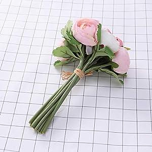 BESTOYARD 10pcs Artificial Flowers Camellia Bridal Wedding Bouquet Bridesmaid Bride Toss Bouquet Home Decoration (Pink & White) 8