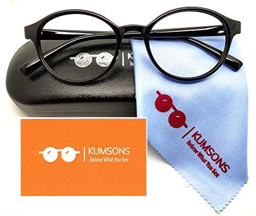 "KUMSONS ® Unisex Adult's UV440″ZERO Power"" Premium Black Wayfarer with Antiglare Glasses Blue Ray Cut Spectacles for Gamer and Computer Operators"