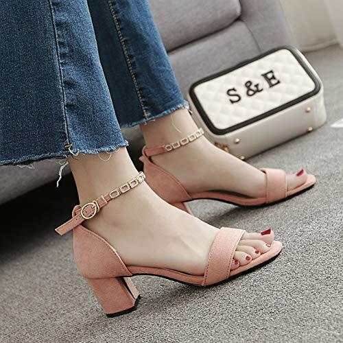 KPHY-4 cm Hochhackigen Sandalen Schuhe Die Sandalen Hochhackigen Sandalen Nahen Schuhe Schwarzer Gürtel Sandalen.38 Pink - ea7a9f