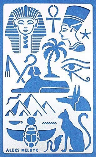 Aleks Melnyk #31 Metal Journal Stencil/Egypt Symbols/Stainless Steel Stencil 1 PCS/Template Tool for Wood Burning, Pyrography and Engraving/Scrapbooking/Crafting/DIY