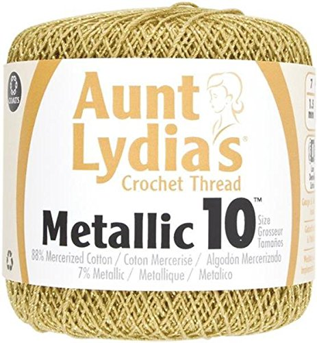 Coats Crochet 154M-0090G  Aunt Lydia's Crochet, Cotton Metallic Size 10, Gold/Gold (Gold Metallic Thread)