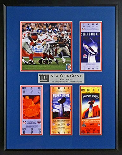 New York Giants Super Bowl Tickets Display (Featuring Eli Manning SB XLII Scramble) Framed