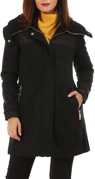 manteau noir mi long femme bi matiere