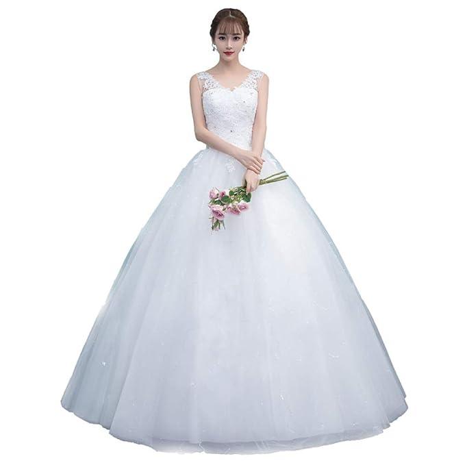 SBL Vestido De Novia - Vestido De Novia Coreano con Cuello En V Y Doble Hombro Vestido De Novia Delgado con Encaje Qi En Color Blanco: Amazon.es: Deportes y ...
