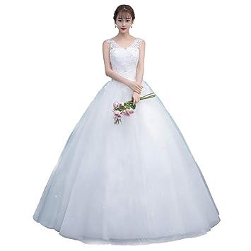 SBL Vestido De Novia - Vestido De Novia Coreano con Cuello En V Y Doble Hombro Vestido