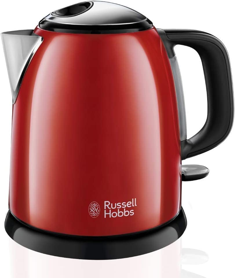 Russell Hobbs Colours Plus - Hervidor de Agua Eléctrico Pequeño (2400W, Hervidor de 1l, Kettle Inox, Rojo)-ref. 24992-70