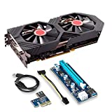 XFX GTS Black Core Edition Bundle 2 Items: Radeon RX 580 DirectX 12 RX-580P828D6 8GB OC+ 1405 MHz PCI Express 3.0 and Riser for Crypto Coin ETH Ethereum Zcash ZEC Bitcoin