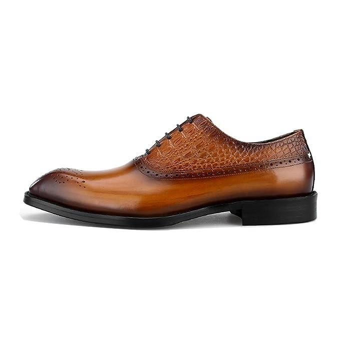 YY Hombres Ropa Formal Ocio Zapatos De Negocios Cabeza Cuadrada Tallado Encaje Zapatos De Oxford Uso Diario Zapatos De Vestir Vestido Zapatos De Cuero: ...