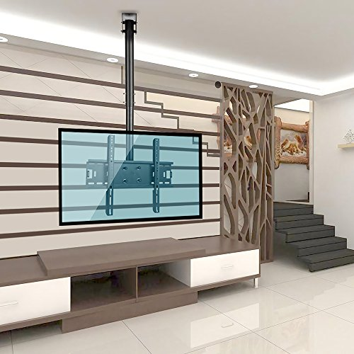 Vemount Adjustable Tilting TV Ceiling Mount Bracket Fits Most 32-55″ LCD LED Plasma Monitor Flat Panel Screen Display with VESA 400×400 400×300 400×200 300×300 300×200 200×200 200×100 100×100 75x75mm