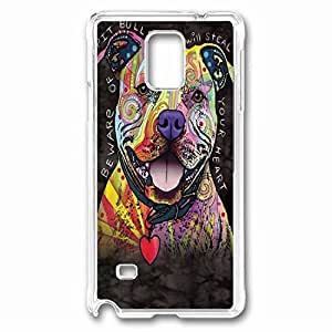 Beware Of Pit Bulls Custom Back Phone Case for Samsung Galaxy Note 4 PC Material Transparent -1210382 hjbrhga1544