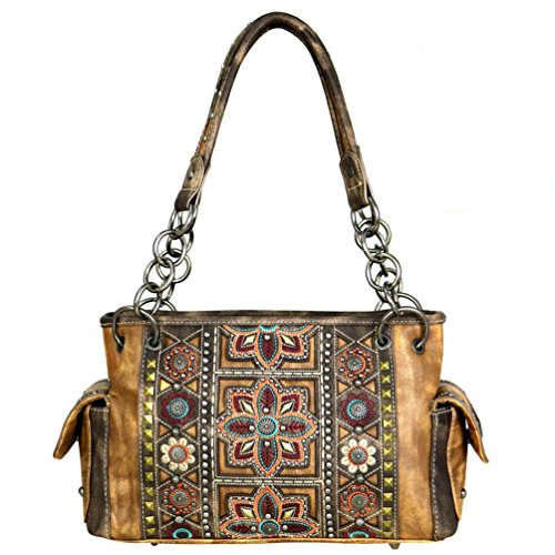 [MW534G-8085 Montana West Concho Collection Concealed Carry Handgun Handbag Satchel (Brown)] (Womens Concho)