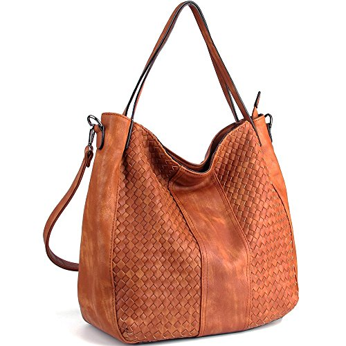 Black Bag Woven Leather Hobo - WISHESGEM Women Handbags Top-Handle Fashion Hobo Tote Bags PU Leather Shoulder Satchel Bags Brown,Medium