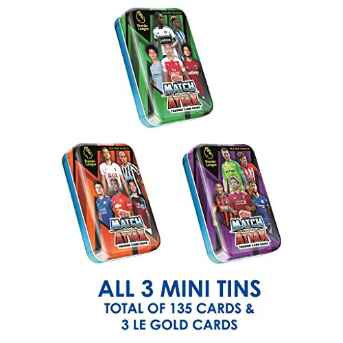 - EPL 2018-19 Topps Match Attax Cards - Mini Tin 3-Pack (1 of Each tin Variation) (Total of 135 Cards + 3 LE Gold)