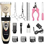 #LightningDeal Sminiker Professional Rechargeable Cordless Dogs and Cats Grooming Clippers - Professional Pet Hair Clippers with Comb Guides for Dogs Cats and Other House Animals,Pet Grooming Kit