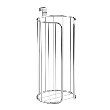 InterDesign Classico Over Tank Toilet Paper Holder – Vertical Basket for Extra Bathroom Toilet Roll Storage, Chrome