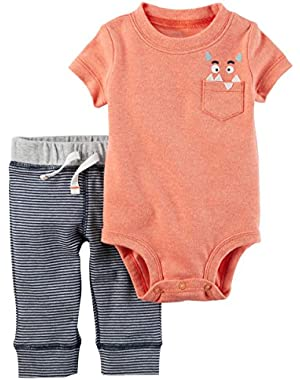 baby boys 2-Piece Bodysuit Pant Set (Orange)