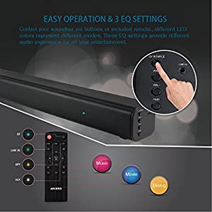 AKIXNO Bluetooth Sound Bar Wireless and Wired Audio Home Theater Soundbar 2.0 Channel Wall Mountable Remote Control 40W Speaker for TV/PC/Phones/Tablets/Gaming Machine (Black)