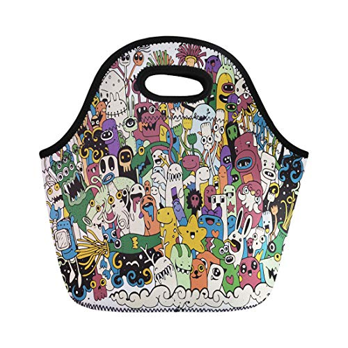 Semtomn Neoprene Lunch Tote Bag Beast of Monsters and Cute Alien Friendly Cool Collection Reusable Cooler Bags Insulated Thermal Picnic Handbag for Travel,School,Outdoors, Work ()