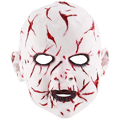 Halloween Scary Cosplay Halloween Costume Death Party Props Horror Bloody Yaksha Ghost Doll Mask -