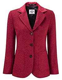 Womens Tweed Blazer With Contrast Collar Florida Red