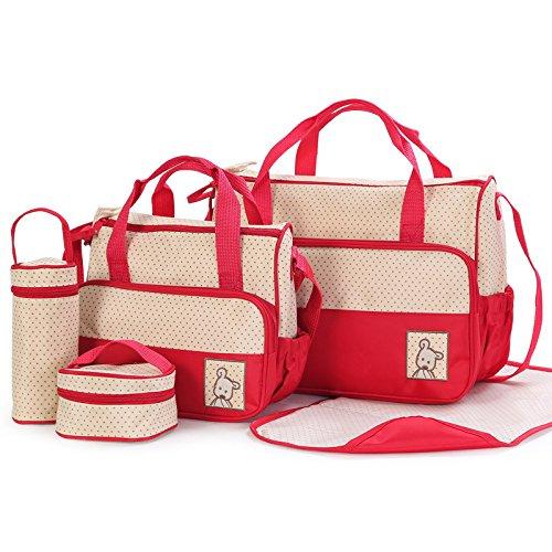 Multifonction Baby Diaper langer sac à langer/Momie Sac à main (Lot de 5, rouge) Bargain Village