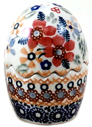 polish-pottery-salt-and-pepper-shaker-puzzle-egg-in-holiday-pattern-dplc-or-christmas-posies