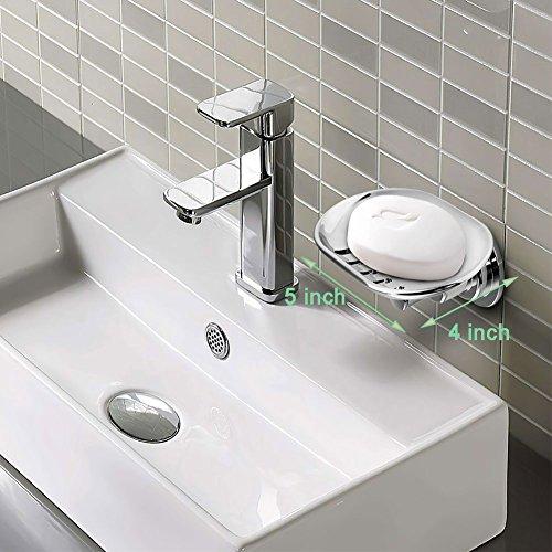 BOPai Elegant Suction Soap DishPowerful Vacuum Suction Cup Soap HolderBathroom Kitchen